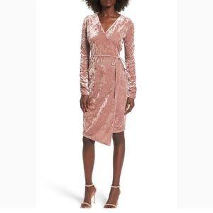 Leith rose velvet wrap dress.